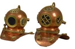 Lof of 2  Miniature Brass Figural Deep Sea Dive Helmet