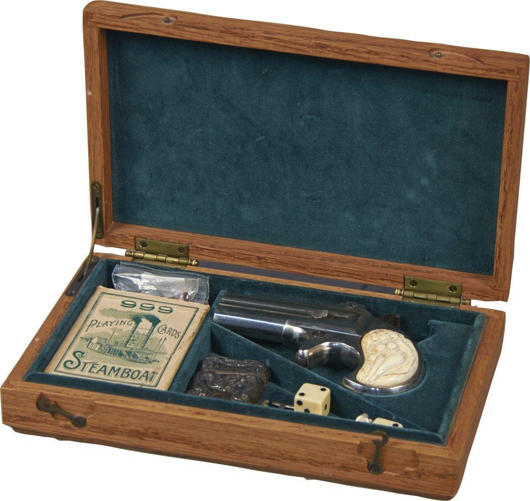 Oak Gambler's Box w/Replica Remington Arms Double