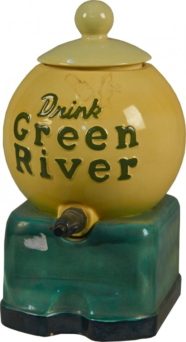 """Porcelain """"Drink Green River"""" Counter Top Syrup Dispens"""