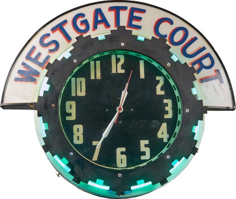 """""""Westgate Court"""" Advertisement Clock w/ Neon"""