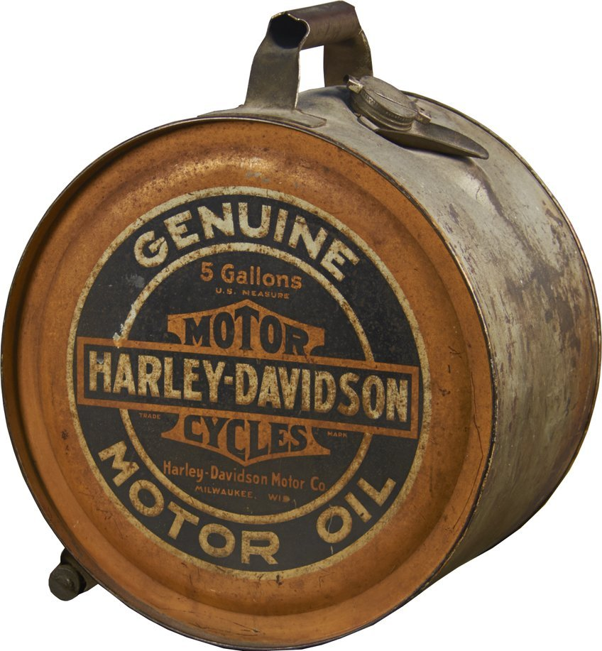 Harley Davidson Motorcycles Round Metal 5-Gallon Can