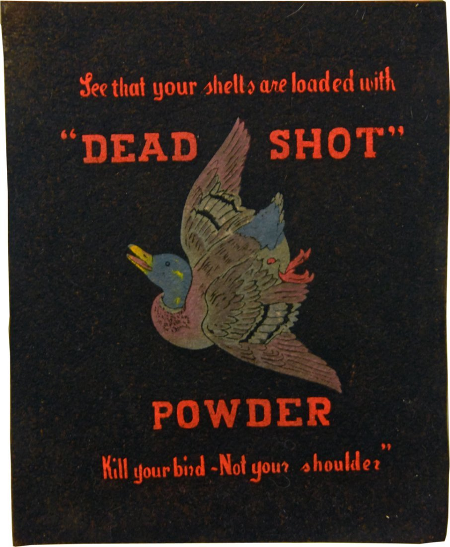 """Dead Shot"" Powder Counter Felt Advertising Sign"