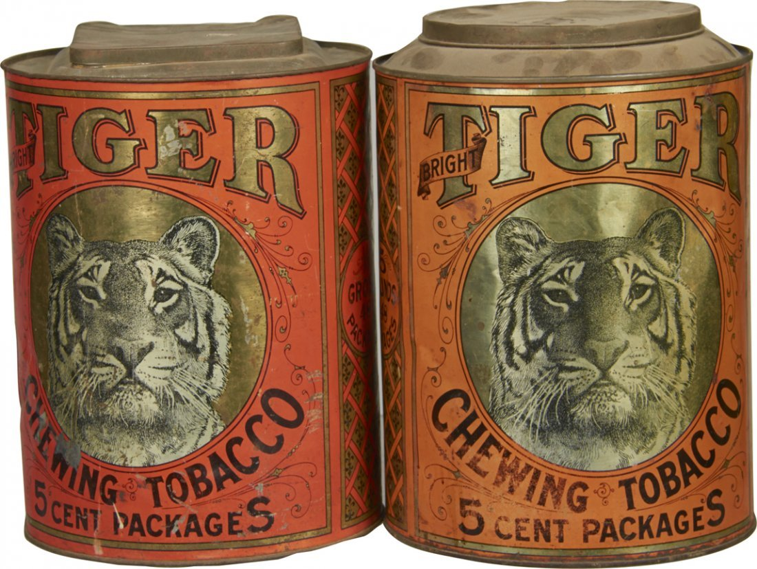 Lot of 2 Tiger Chewing Tobacco Cylinder Tins
