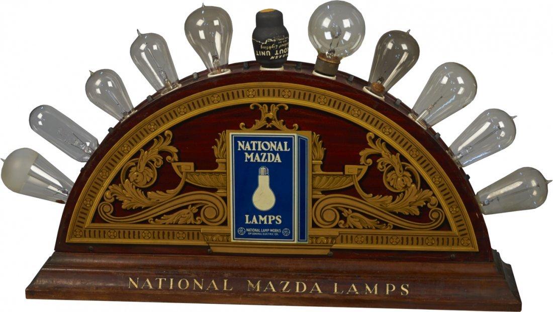 Early National Mazda Lamps Countertop Display