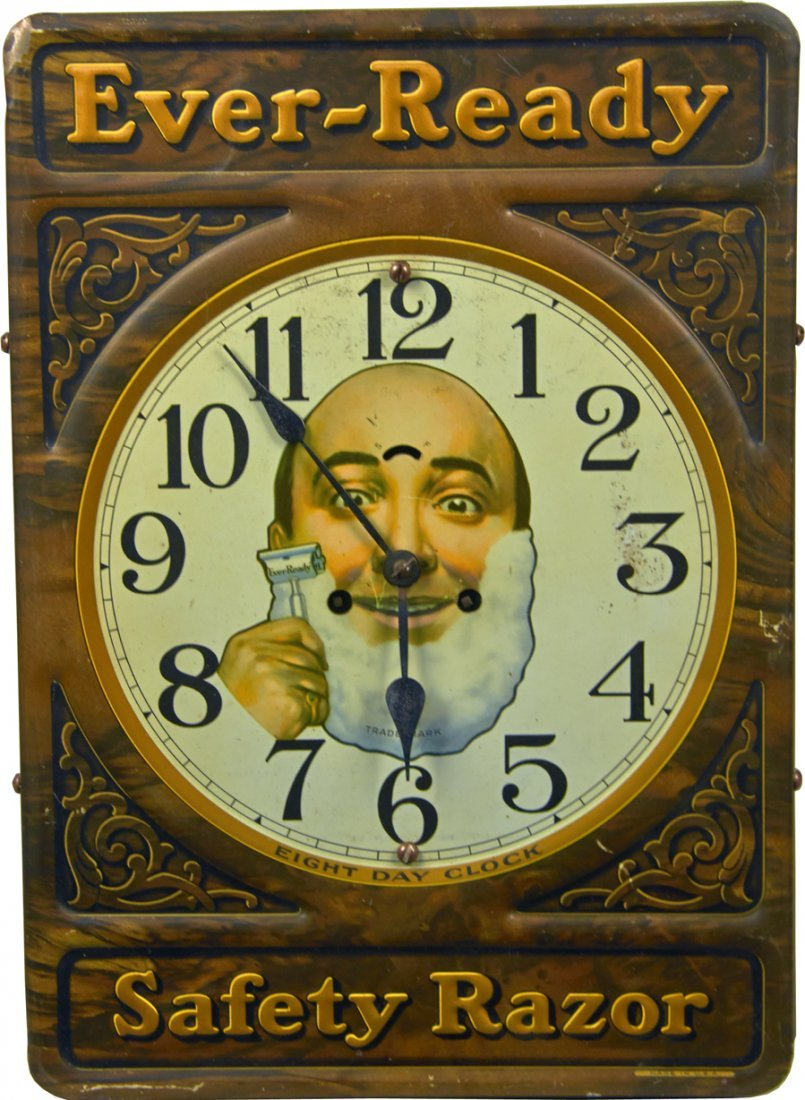 Ever-Ready Safety Razor Embossed Tin Advertising Clock
