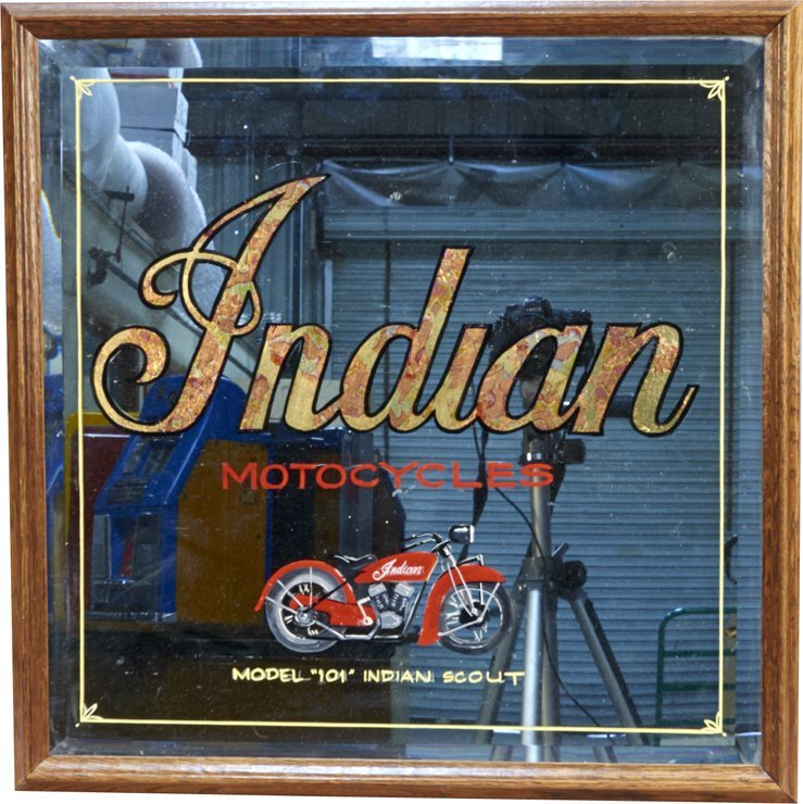 """Hand-Painted """"Indian Motorcycles"""" Beveled Glass Mirror"""