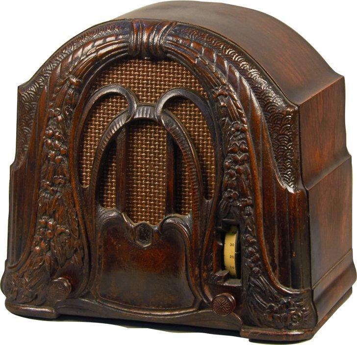 """Crosley Model 58 """"The Buddy Boy"""" 2-Dial Wood Radio"""