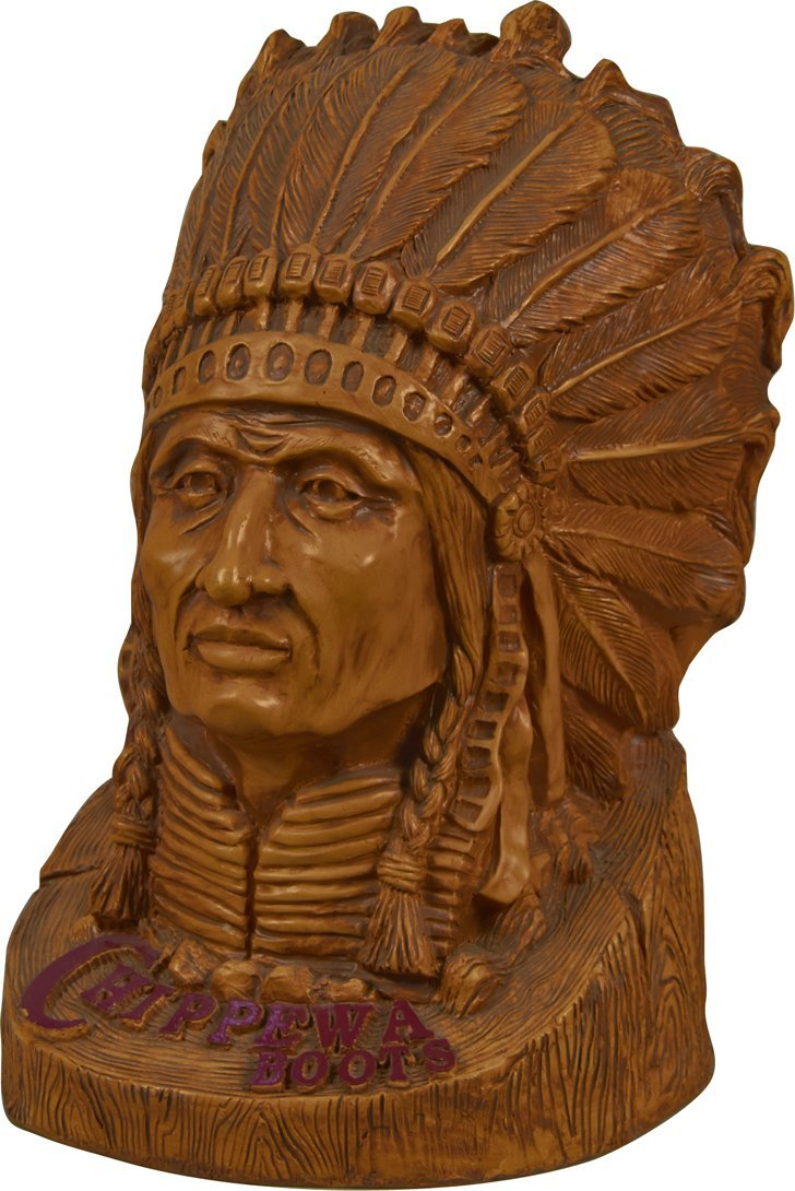 """Chippewa Boots"" Indian Bust Fiber Resin Advertisement"
