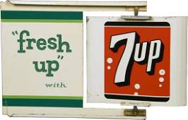 7 Up DoubleSided Tin Flange Sign