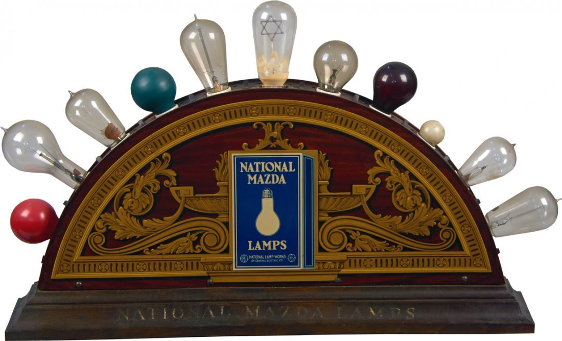 National Mazda Lamps Double-Sided Light-Up Tin Display