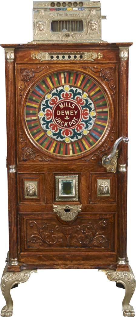 25 Cent Mills Dewey Jackpot Upright Floor Slot Machine