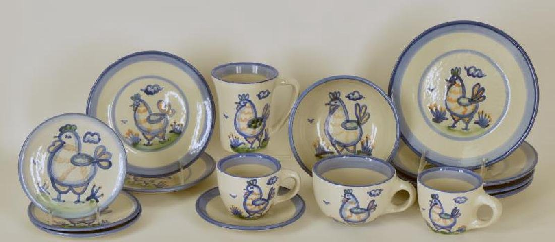 Collection Of M A Hadley Chicken Painted Pottery