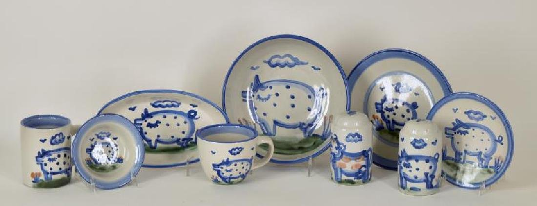 Collection Of M A Hadley Pig Painted Pottery