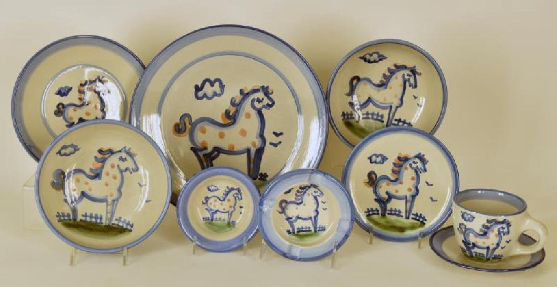 Collection Of M A Hadley Horse Painted Pottery