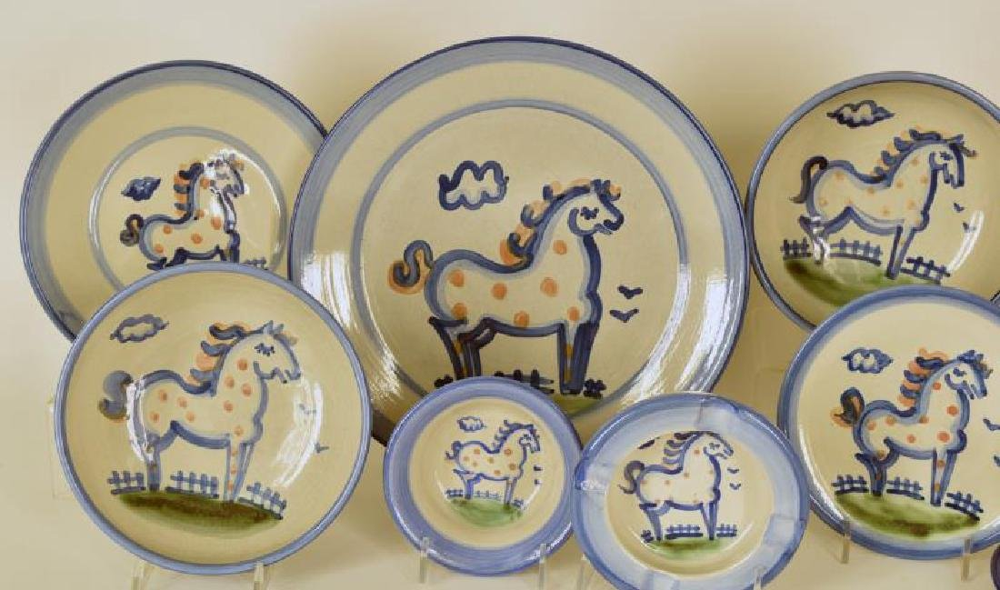 Collection Of M A Hadley Horse Painted Pottery - 3