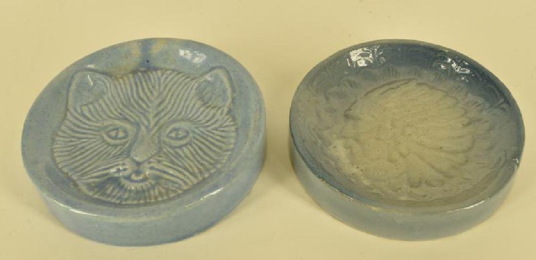 Two Blue And White Stoneware Soap Dishes