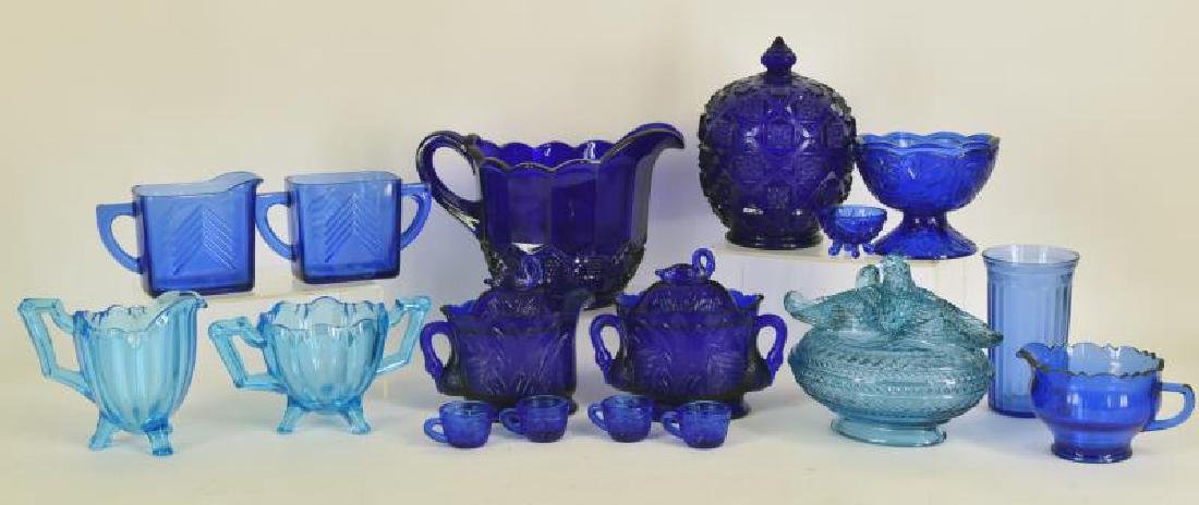 Collection Of Westmoreland Cobalt Blue Glassware