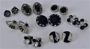 Black Silvertone Rhinestone Earrings