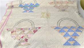 Handmade Basket  Embroidered  Quilt
