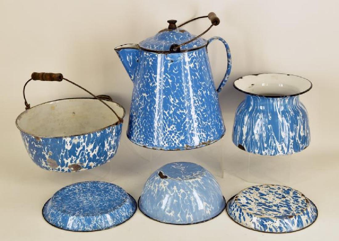 Collection Of Vintage Blue Enamel Ware