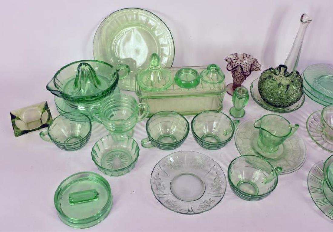 Collection Of Green Depression Glass - 3