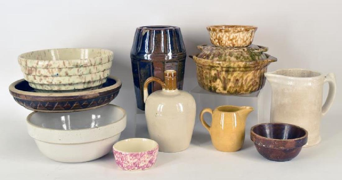 Collection Of Yellow Sponge Ware And Stoneware