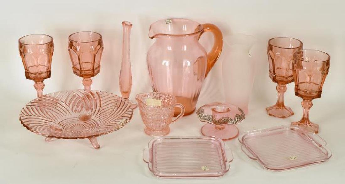 Collection Of Pink Depression Glass