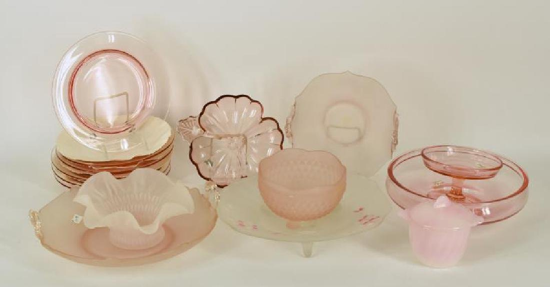 Collection Of Pink Satin And Depression Glass