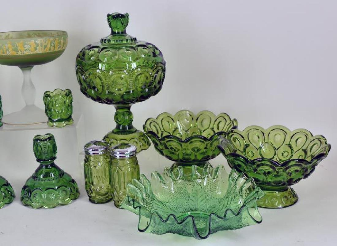 Collection Of Forest Green Glassware - 2