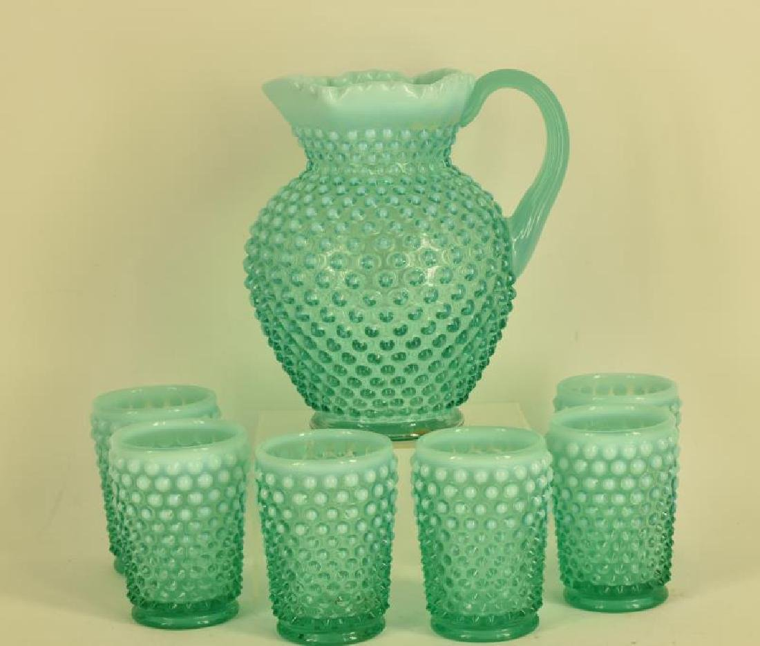 Fenton Opalescent Hobnail Pitcher And Glasses