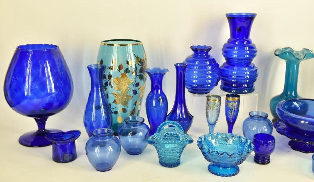 Large Collection Of Cobalt Blue Glassware - 3