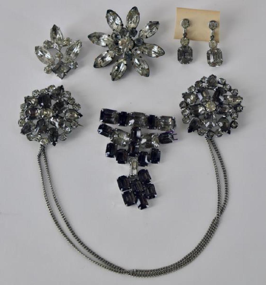 Vintage Smokey Rhinestone Jewelry