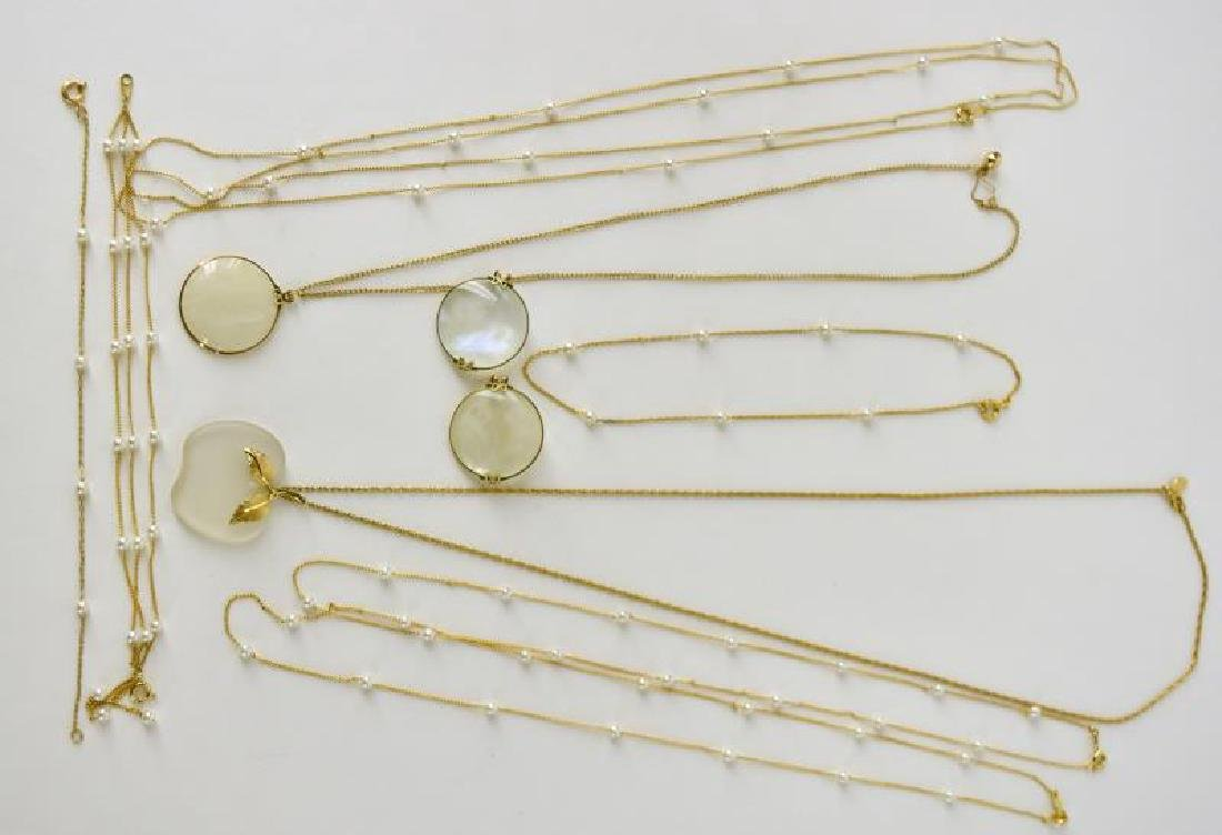Collection Of Avon Pearl And Gold Necklaces