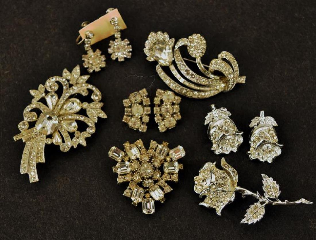 Collection Of Rhinestone Pins And Earrings