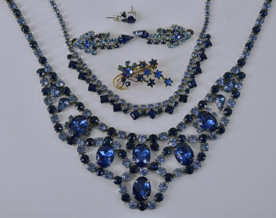 Collection Of Blue Crystal Rhinestone Jewelry