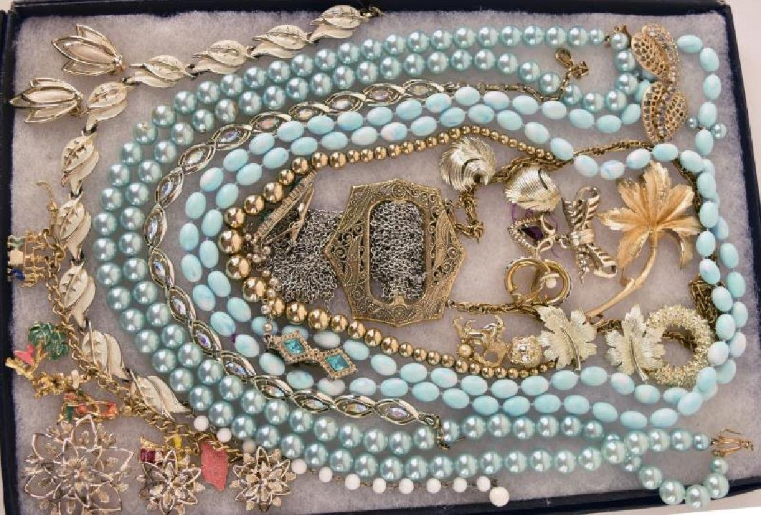 Collection Of Blue Pearls And Gold Jewelry