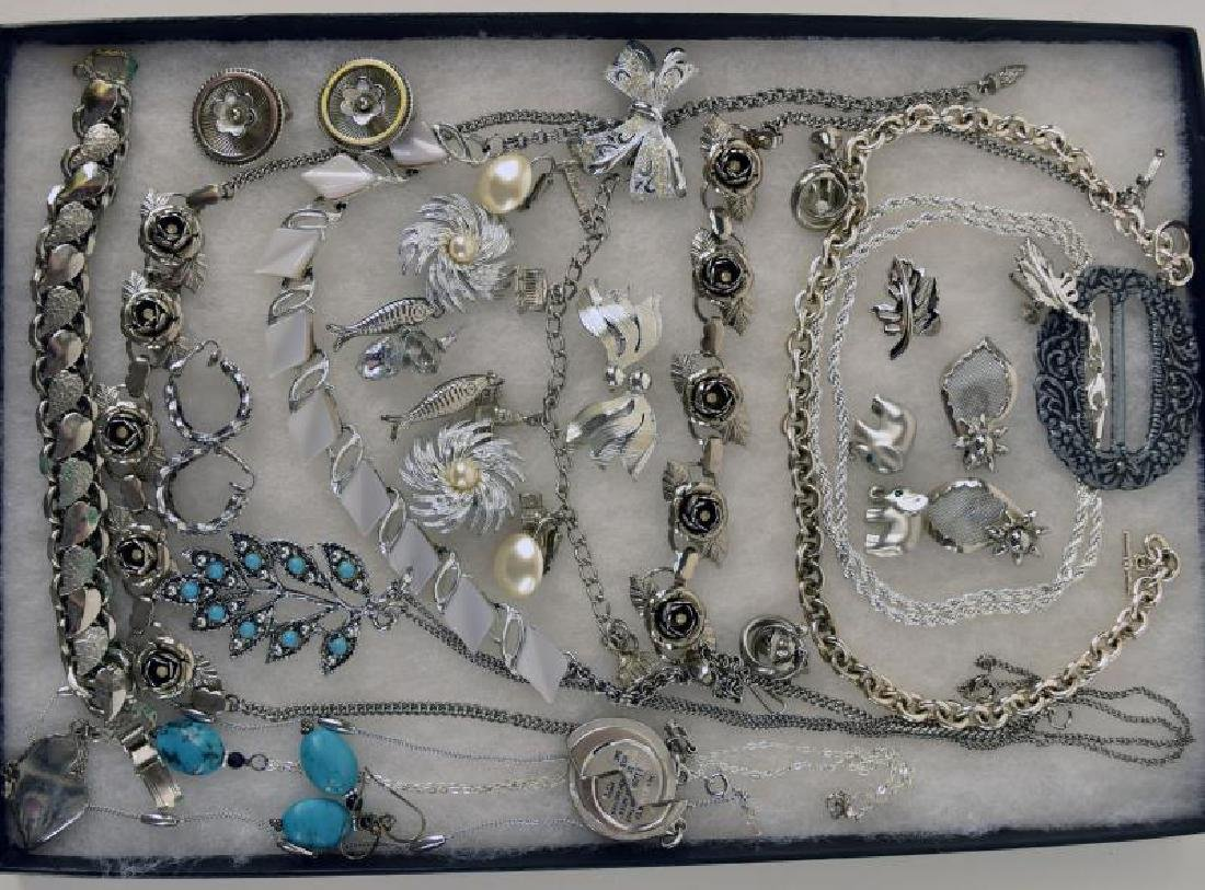 Collection Of Silvertone Costume Jewelry