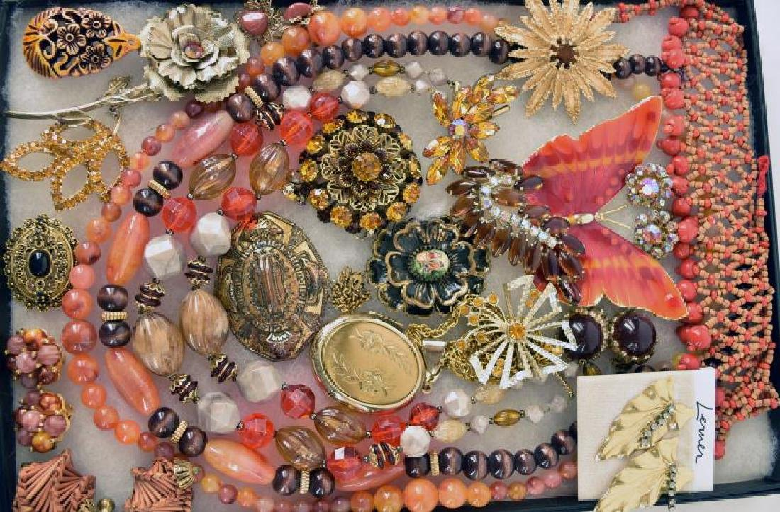 Collection Of Orange, Gold Brown Costume Jewelry