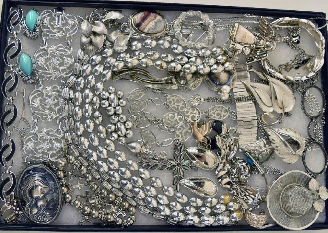 Large Collection Of Silvertone Jewelry