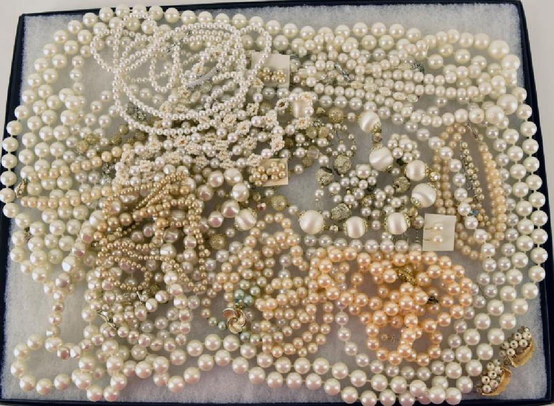 Large Collection Of Faux Pearl Jewelry
