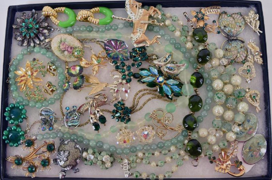 Large Collection Of Green Costume Jewelry
