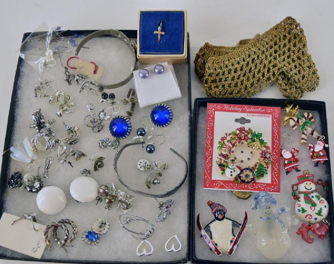 Collection Of Sterling Earrings And Christmas Pins