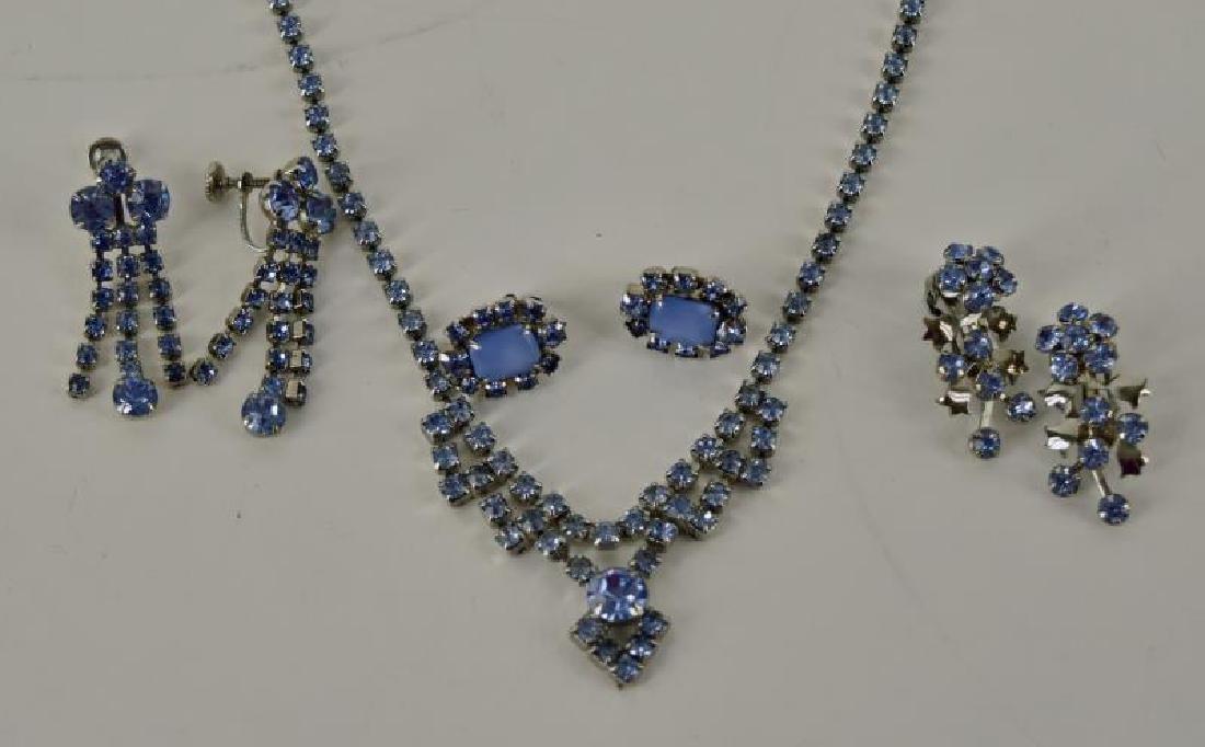 Collection Of Blue Rhinestone Jewelry