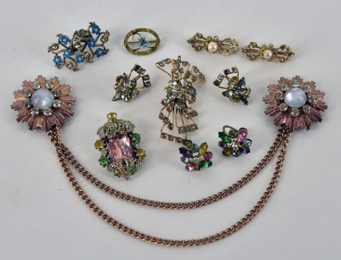 Collection Of Goldtone And Rhinestone Jewelry