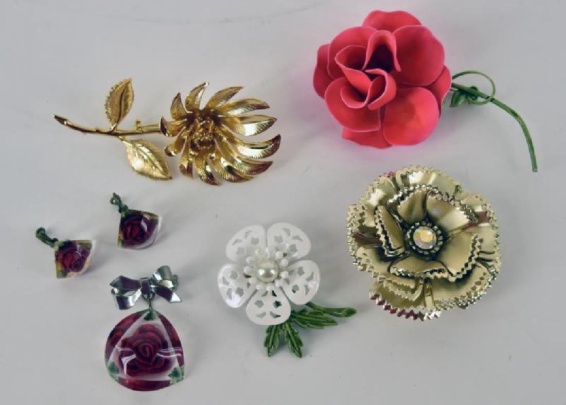 Collection Of Mid-century Flower Jewelry
