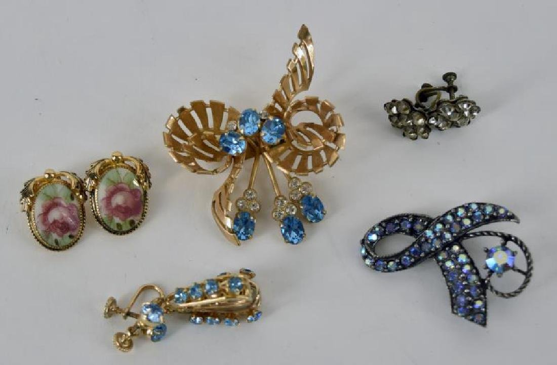 Blue And Gold Rhinestone Jewelry