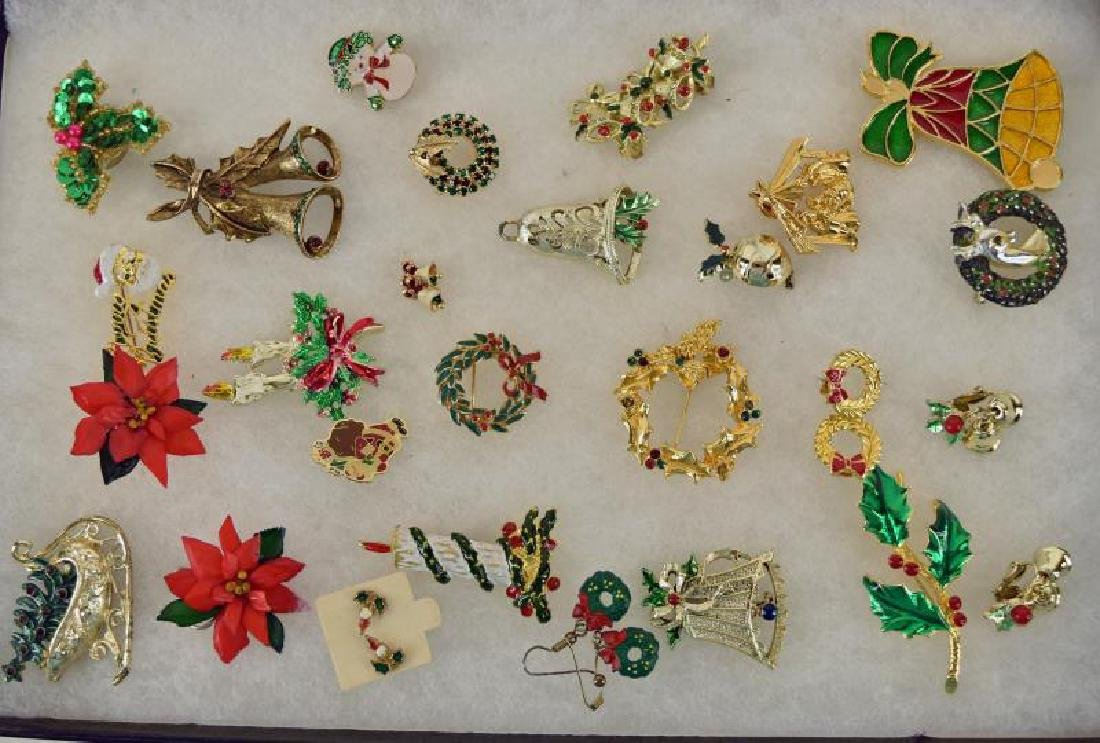 Collection Of Christmas Pins And Earrings