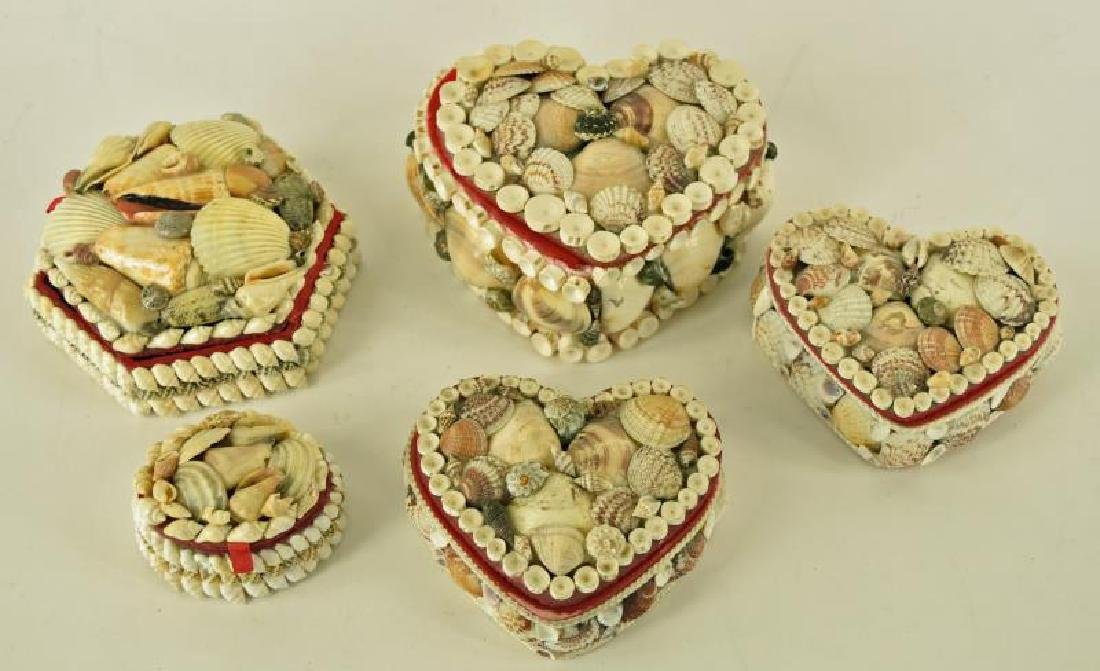 Group Of Sweetheart Shell Boxes