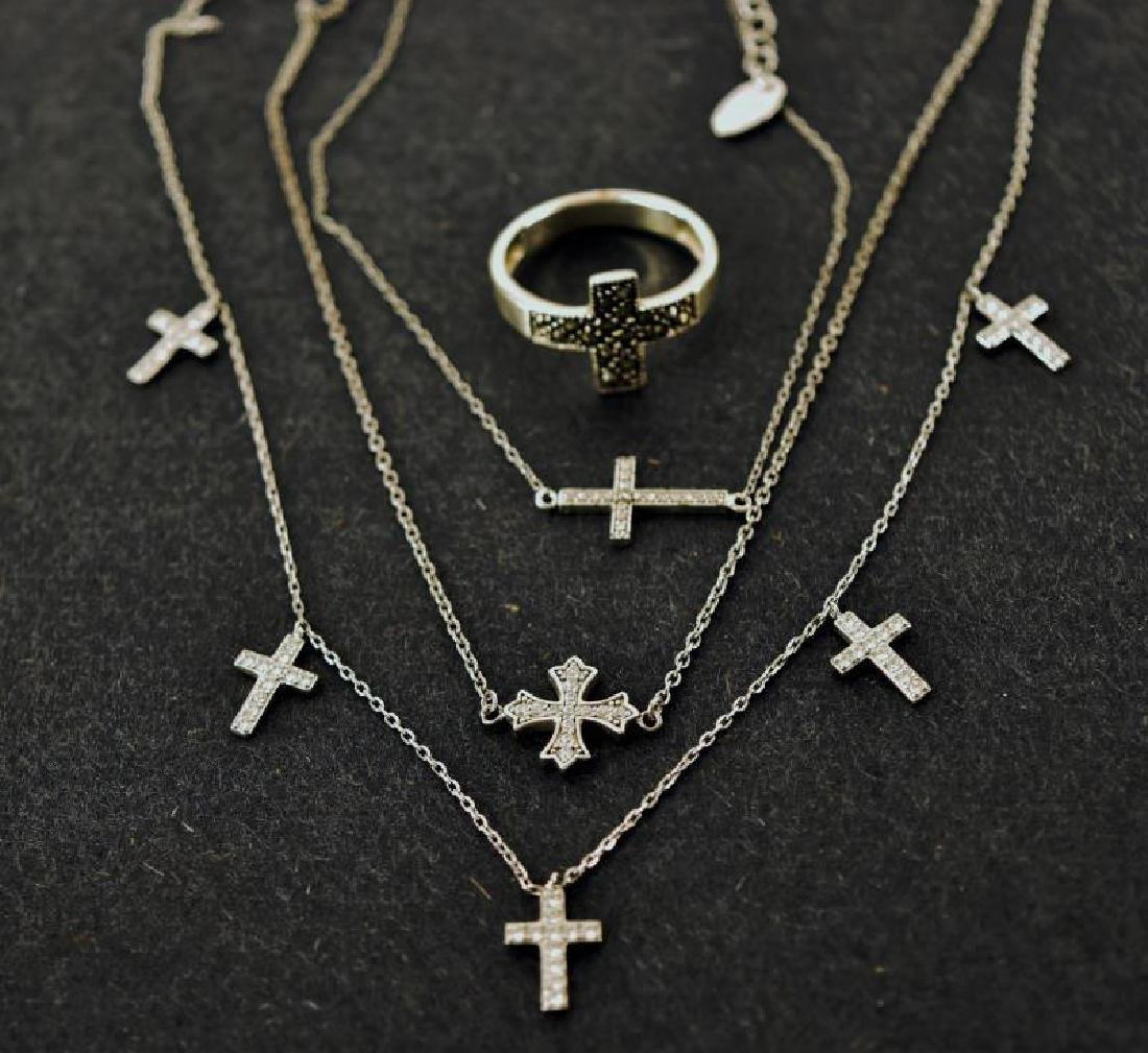Group Of Sterling Silver Cross Jewelry
