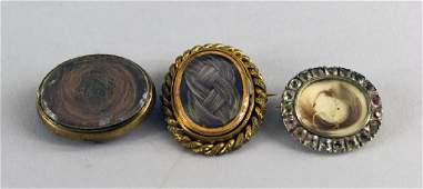 Three Victorian Mourning Pins